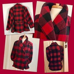 Red & Black Buffalo Plaid Check Pea Coat Jacket